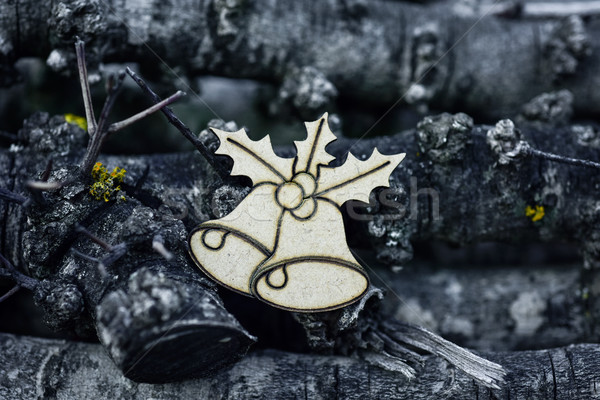 christmas ornament and pile of logs Stock photo © nito