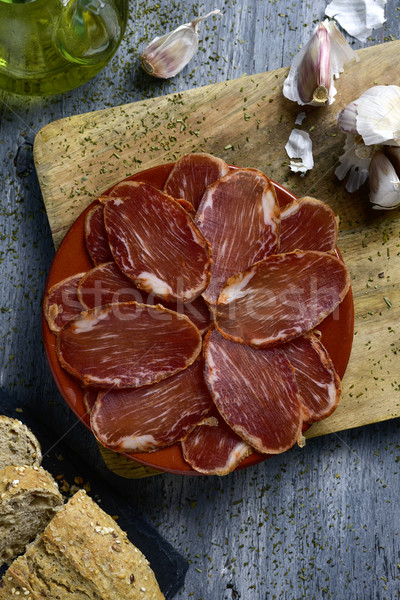 spanish lomo embuchado, cured pork tenderloin Stock photo © nito