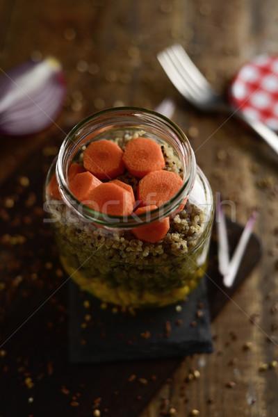 каменщик банку Салат зеленый горох Сток-фото © nito