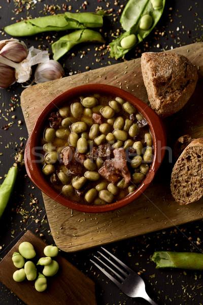 habas a la catalana, a spanish recipe of broad beans Stock photo © nito