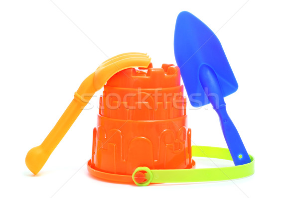 sand / beach toy set: pail, shovel and rake Stock photo © nito
