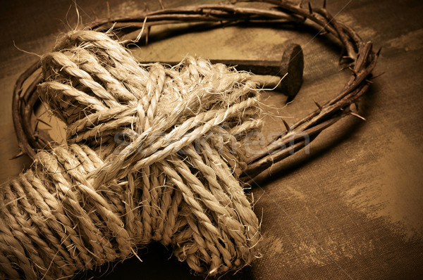 rope cross, crown of thorns and nails Stock photo © nito
