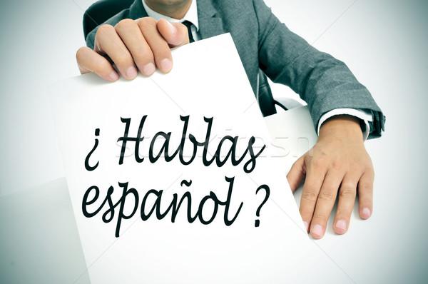 Zdjęcia stock: Mówić · hiszpanski · napisany · człowiek · garnitur