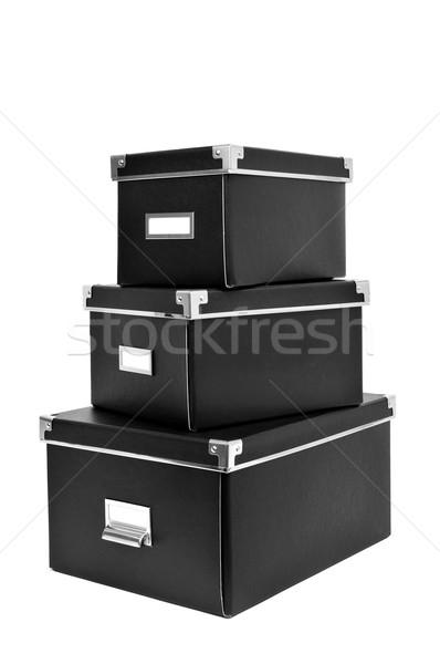 Noir carton stockage cases métal Photo stock © nito