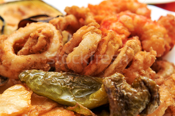 spanish combo platter with fries, grilled pepper and fried shrim Stock photo © nito