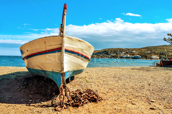 old fishing boat stranded on the beach in Cadaques, Costa Brava, Stock photo © nito