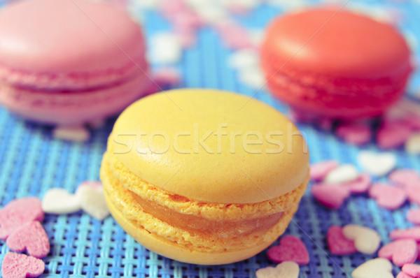 Macarons diverso colori sapori primo piano appetitoso Foto d'archivio © nito