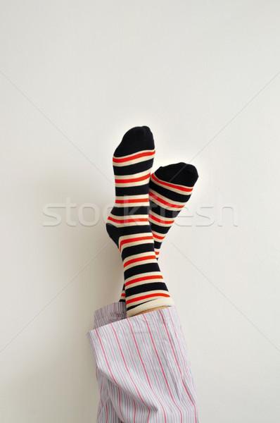 Jonge man pyjama ontspannen kleurrijk Stockfoto © nito