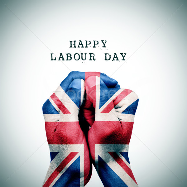 flag of the United Kingdom and the text happy labour day Stock photo © nito