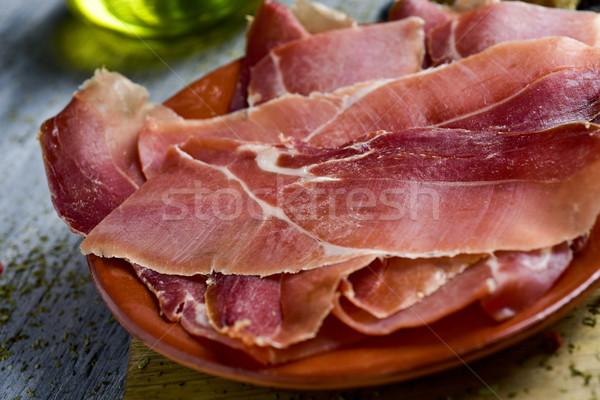 Dilimleri İspanyolca serrano jambon plaka Stok fotoğraf © nito