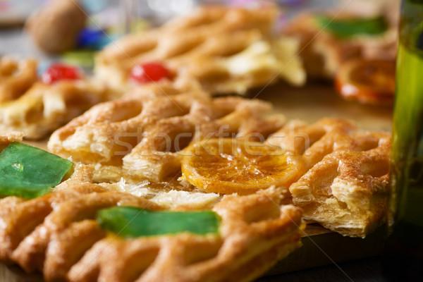 coca de Sant Joan, sweet flat cake from Catalonia, Spain Stock photo © nito