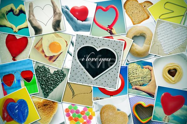 Szeretet kollázs különböző szívek dolgok lövés Stock fotó © nito