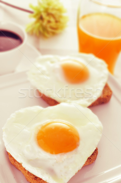 Eieren brood sinaasappelsap geserveerd beker Stockfoto © nito