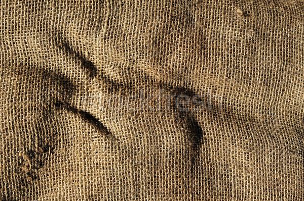 古い 黄麻布 ファブリック クローズアップ 背景 ストックフォト © nito