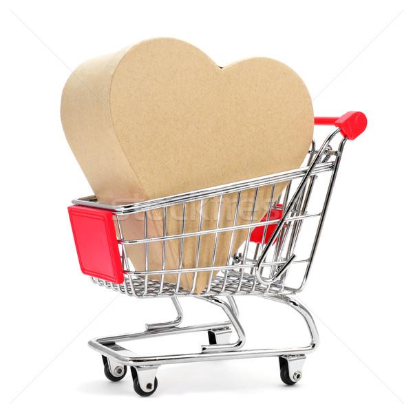 heart-shaped gift box in a shopping cart Stock photo © nito