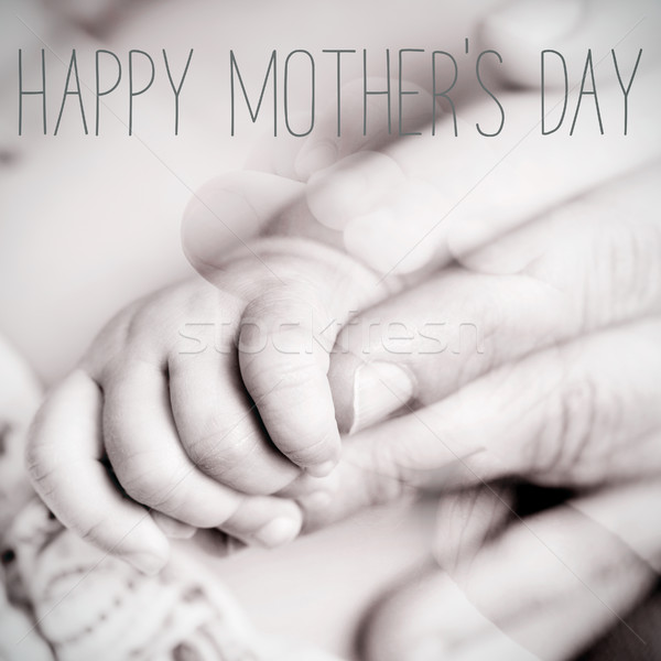 baby and mom, and text happy mothers day Stock photo © nito