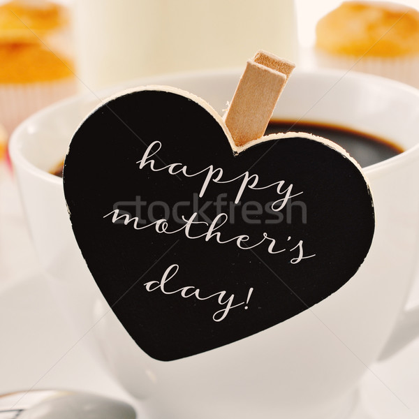 breakfast and text happy mothers day in a heart-shaped blackboar Stock photo © nito