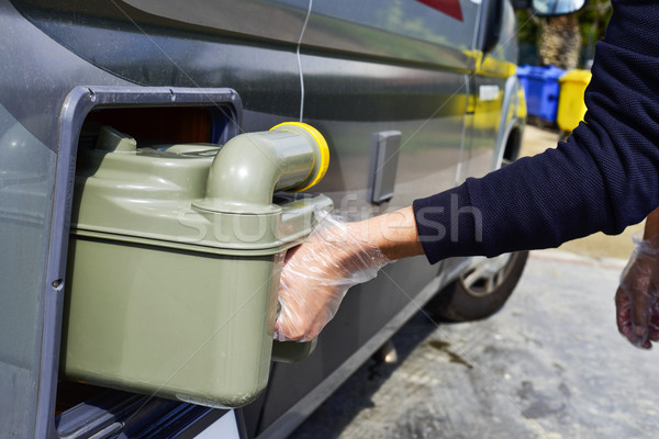removing the sewage tank of a campervan Stock photo © nito