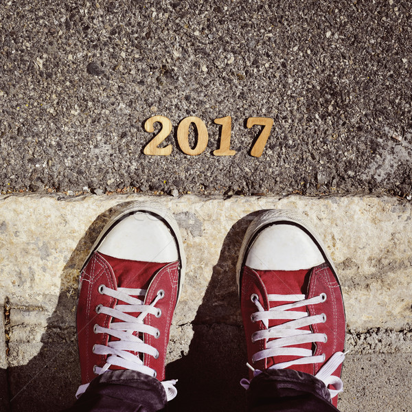 человека ног числа Новый год выстрел Сток-фото © nito