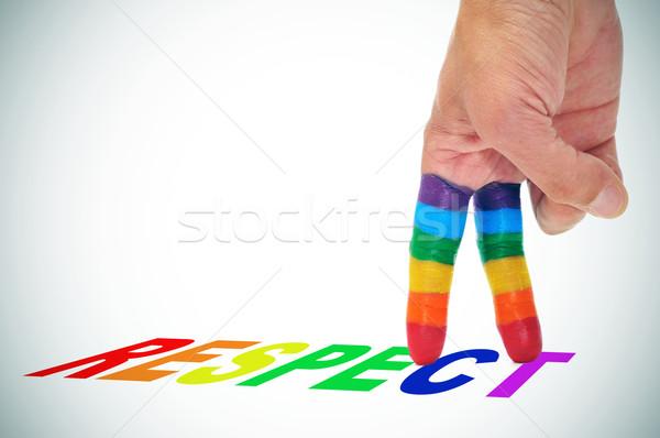 Respeto comunidad alguien dos dedos pintado Foto stock © nito