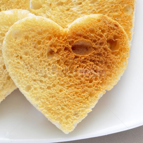 Plaat liefde ontwerp brood ontbijt Stockfoto © nito