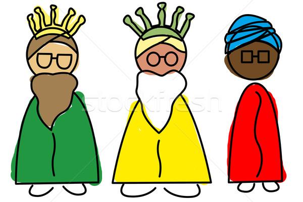üç bilge erkekler örnek eğlence mürekkep Stok fotoğraf © nito