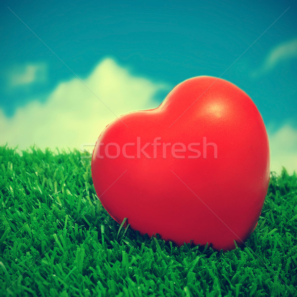 Stock photo: heart on the grass