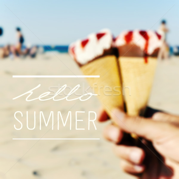 text hello summer and ice creams on the beach Stock photo © nito