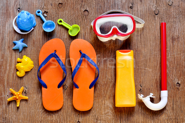 summer stuff, such as a pair of flip-fllops, a diving mask or a  Stock photo © nito