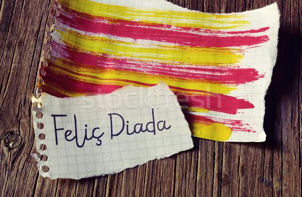 text Felic Diada, Happy National Day of Catalonia in Catalan Stock photo © nito