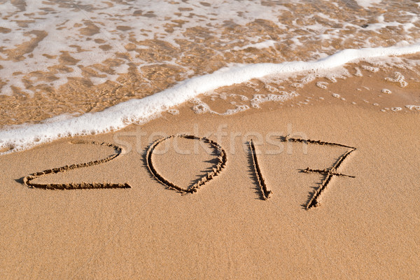 2017, as the new year, in the sand of a beach Stock photo © nito