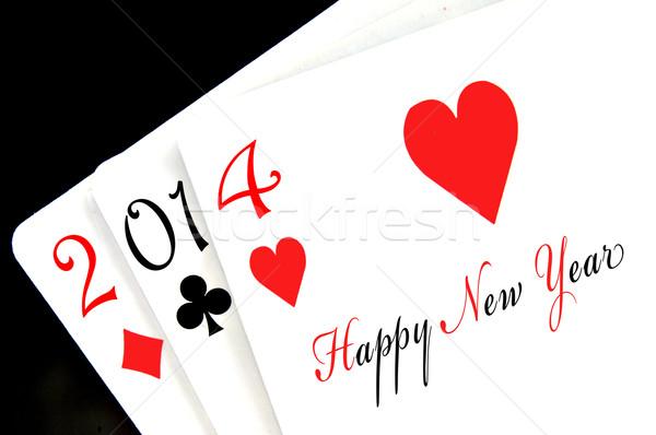 Stockfoto: Gelukkig · nieuwjaar · 2014 · geschreven · poker · speelkaarten · partij