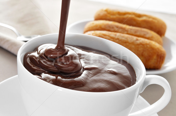 испанский горячий шоколад Кубок шоколадом торт Сток-фото © nito