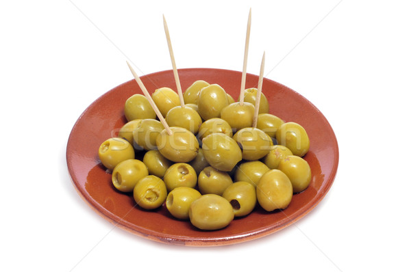 Olive tapas plaque olives servi blanche Photo stock © nito
