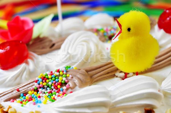 Torta España Pascua primer plano peluche Chick Foto stock © nito