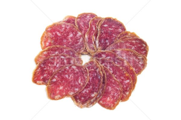 Stockfoto: Spaans · salami · witte · voedsel