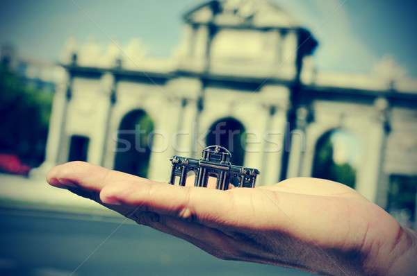 La Puerta de Alcala in Madrid, Spain, with a retro effect Stock photo © nito