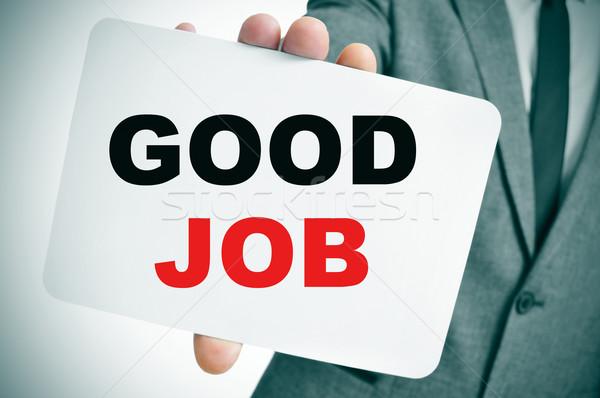 Empresario texto buena Trabajo jóvenes Foto stock © nito