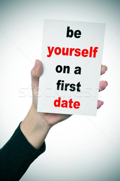 себя первый дата женщину стороны Сток-фото © nito