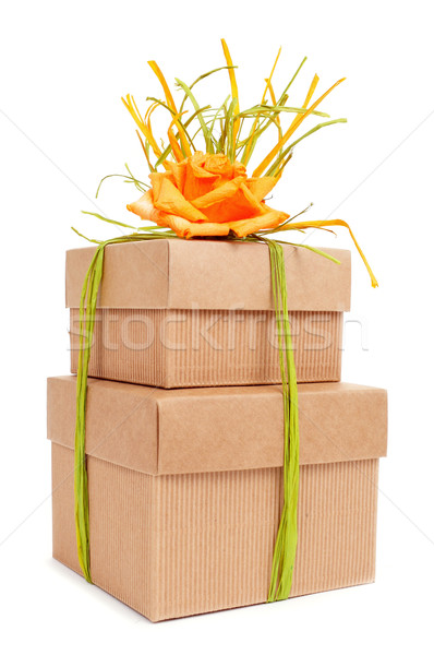 gift boxes tied with natural raffia of different colors and topp Stock photo © nito