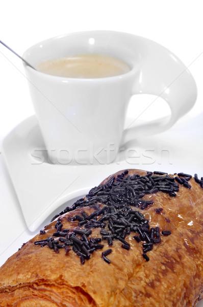 Croissant café desayuno continental taza bar tienda Foto stock © nito