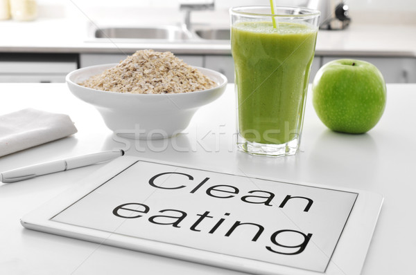clean eating: oatmeal cereal, apple and smoothie Stock photo © nito