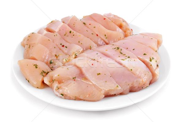 Foto d'archivio: Greggio · pollo · carne · fette · marinato · prezzemolo