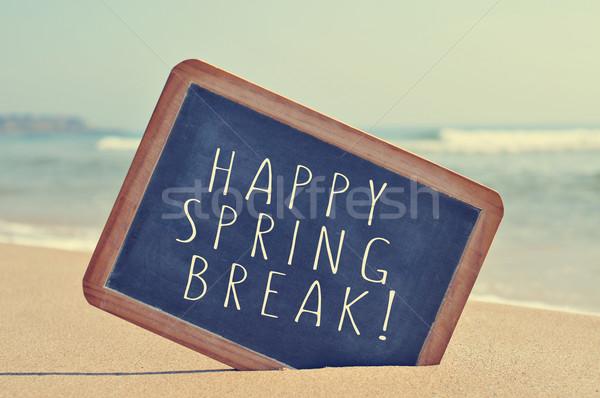 Boldog tavaszi szünet iskolatábla tengerpart szűrő szöveg Stock fotó © nito