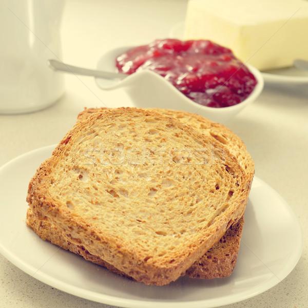 Ekmek reçel tereyağı ayarlamak tablo plakalar Stok fotoğraf © nito