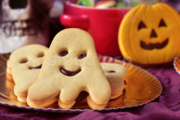 ghost-shaped and pumpkin-shaped cookies for halloween Stock photo © nito