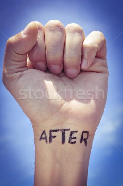 Fiatalember szó írott csukló közelkép ököl Stock fotó © nito