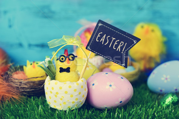 teddy chick with a signboard with the word easter Stock photo © nito