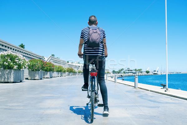 Adam bisiklete binme liman Valencia İspanya genç Stok fotoğraf © nito