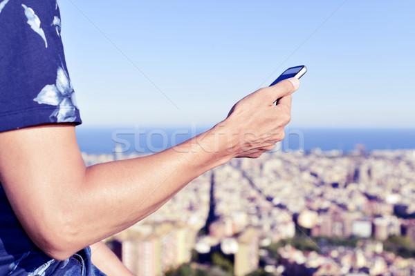 человека смартфон Барселона Испания молодые Сток-фото © nito